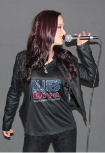 "Blues Artists and Actress Diana Rein Models her ""Blues Diva"" Rhinestone Ladies T-Shirt"